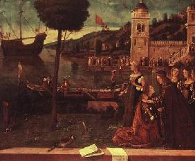 St.Ursula taking leave of her father c.1500