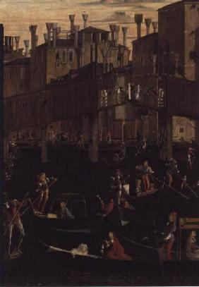 Wooden Rialto Bridge, from the Miracle of the Relic of the True Cross 1494