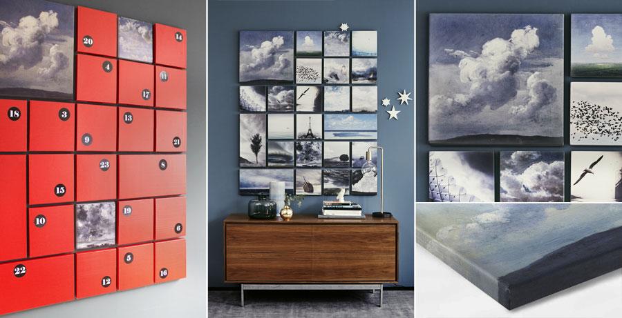 himmlischer adventskalender auf leinwand von als kunstdruck oder handgemaltes gem lde. Black Bedroom Furniture Sets. Home Design Ideas