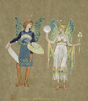 Elves and Fairy Painters, from 'The Snowman' 1899 (w/c on paper) 19th