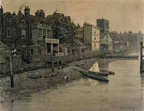 A Thames View Showing the Adam and Eve Tavern in Chelsea 1868  on