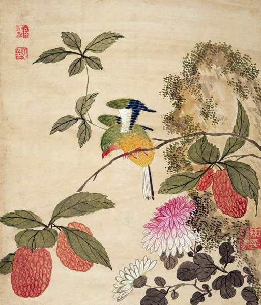 One of a series of paintings of birds and fruit late 19th