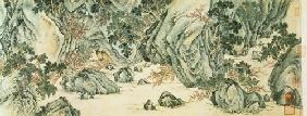 The Journey to the 'Land of the Immortals' detail of 'The Peach Blossom Spring' from a poem entitled