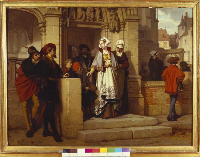 Faust und mephistopheles warten an der k wilhelm koller als kunstdruck oder handgemaltes gem lde - Faust wandfarbe ...