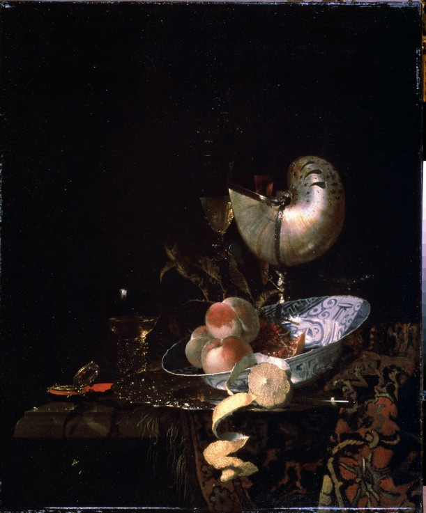 Chinese porcelain: Willem Kalf, Still Life with Mother-of-pearl Goblet, ca. 1660, Pushkin Museum, Moscow, Russia.