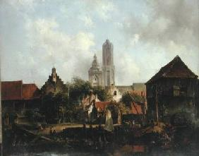 Canal Scene with Utrecht