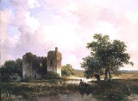 Landscape with ruins (panel)