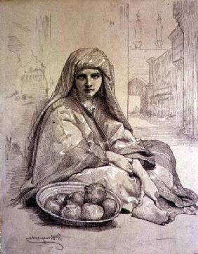 Algerian Girl Selling Pomegranates