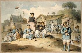 A group of Chinese on the bank of a river, watching the Earl Macartney's Embassy pass 1793