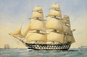 HMS Bellerophon off the Coast 1875  on