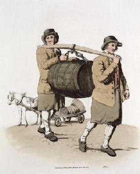 Brewers, from 'Costume of Great Britain' published by William Miller, 1805 (colour litho) 19th