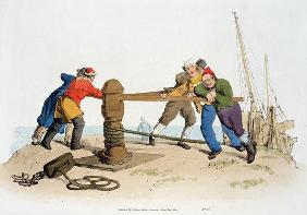 Fishermen at a Capstan, from 'Costume of Great Britain', published by William Miller, 1805 (colour l 1766
