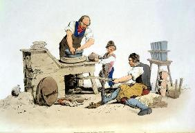 Potters, from 'Costume of Great Britain', published by William Miller, 1805 (colour litho) 17th
