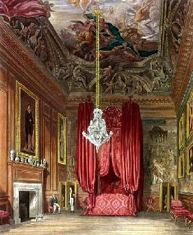 Queen Mary''s State Bed Chamber, Hampton Court from Pyne''s ''Royal Residences''