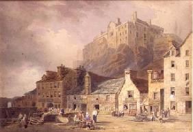 Edinburgh Castle from the Grass Market, showing the Little West Port c.1820  an