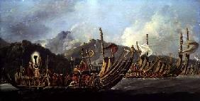 Tahitian War Canoes. In 1774 James Cook Witnessed a Review of the Fleet Consisting of 160 Big War Ca