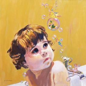 William  Ireland - Bubble Bath (oil on board)