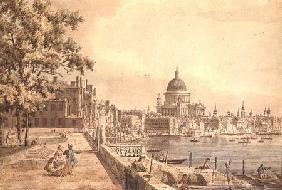 A copy of part of a drawing by Canaletto, of St. Paul's Cathedral from the Terrace of Somerset House