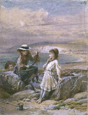 Two Girls and a Boy with Seaweed 1900  &