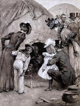 'A Peek at the Natives', Savage South Africa at Earl's Court, 1899 (pen and washes on paper) 15th