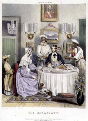 The Breakfast, plate 3 from 'Anglo Indians', engraved by J. Bouvier 1842