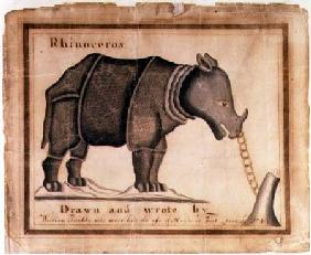 'Rhinoceros, drawn and wrote by William Twiddy who never had the use of hands or feet' June 1st 1
