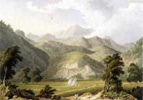 Approach to the Bore Ghaut, from a painting by Lt. Col. Johnson, engraved by T. Fielding and coloure