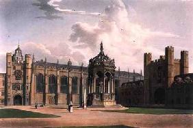 The Court of Trinity College, Cambridge, from 'The History of Cambridge', engraved by J. Bluck (fl.1 1815 our