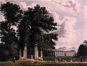 Entrance to the Avenue from Clare Hall Piece (the New Building of Kings), Cambridge, from 'The Histo 1815 our