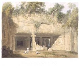 Exterior of the Great Cave Temple of Elephanta, near Bombay, in 1803, from Volume II of 'Scenery, Co 1830