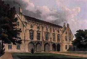 Exterior of Magdalen College Library, Cambridge, from 'The History of Cambridge', engraved by Joseph 1815 our
