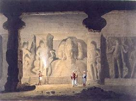The Great Triad in the Cave Temple of Elephanta, near Bombay, in 1803, from Volume II of 'Scenery, C 1830