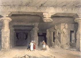 Interior of the Great Cave Temple of Elephanta, near Bombay, in 1803, from Volume II of 'Scenery, Co 1830