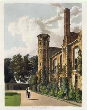 Part of St. Peter's College (Peterhouse) from the Private Garden, Cambridge, from 'The History of Ca 1815 our