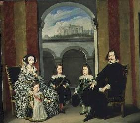 Francesco Tapia, Conte del Vasto, with his Family seated in an interior of the Palazzo Tapia with a