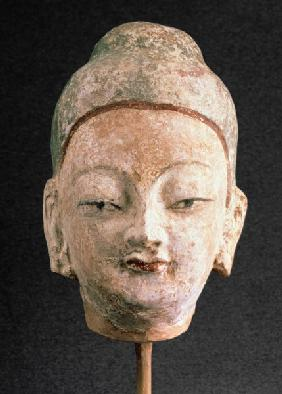 Head of a statue of Buddha, from Bezeklik 9th-10th c