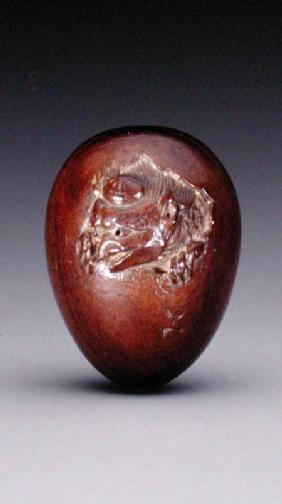 Netsuke depicting a crow emerging from its egg c.1800-20