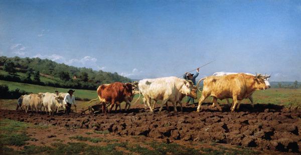 Maria-Rosa Bonheur - Pflügen mit Ochsen im Nivernais.