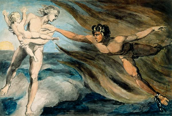 William Blake - Good and Evil Angels Struggling for the Possession of a Child